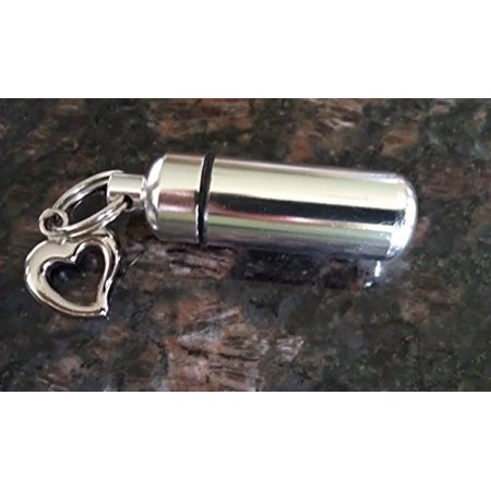 Lovely Silver OPEN HEART CREMATION URN KEYCHAIN with LASER ENGRAVED HEART - Includes Velvet Pouch, Fill Kit
