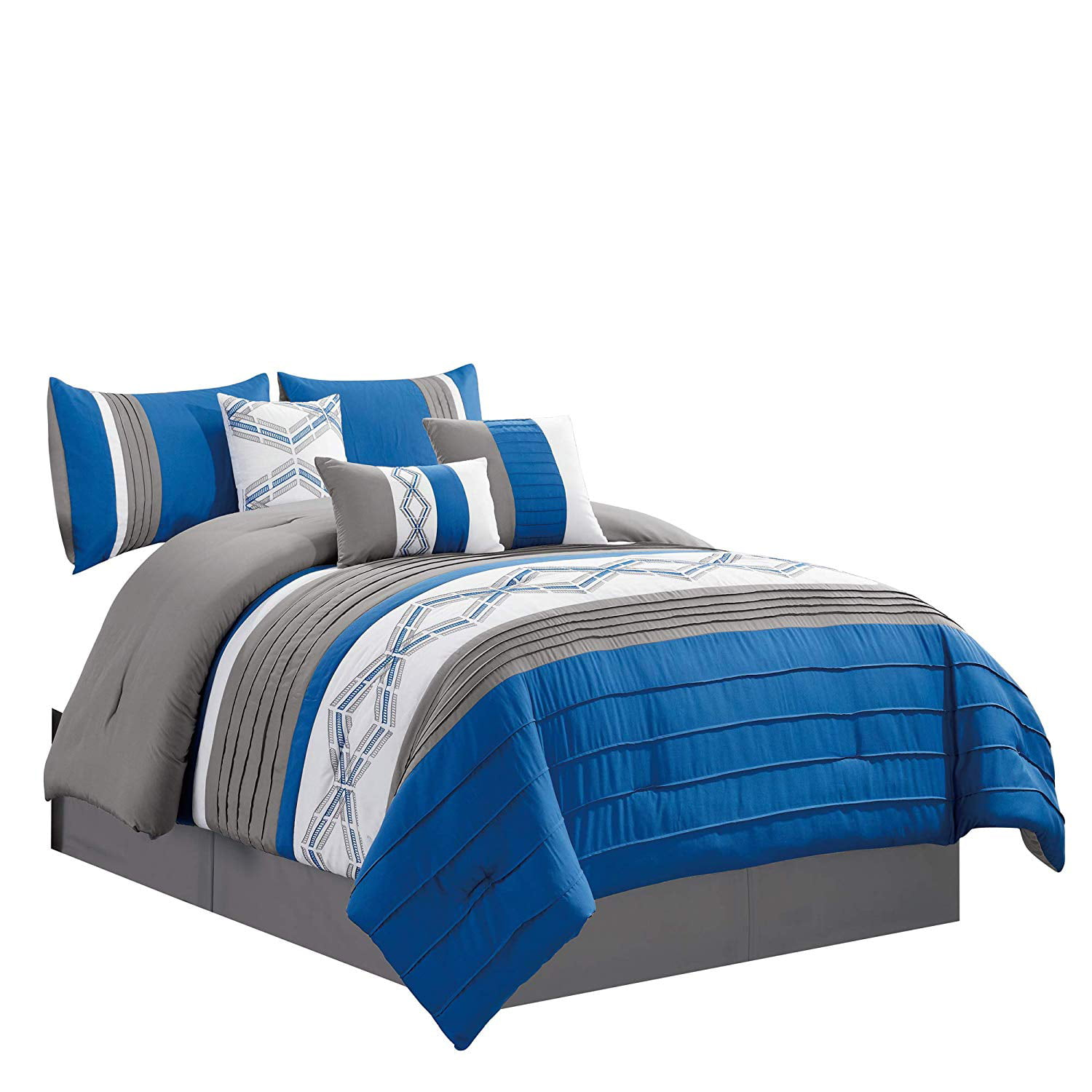 Embroidered 7 Piece Bedding Set Royal Blue Grey White