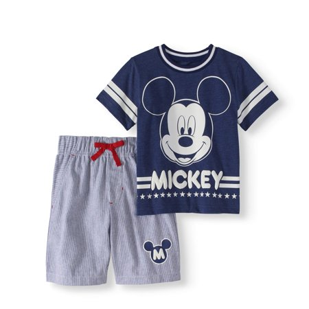 Mickey Mouse Toddler Boy T-shirt & French Terry Shorts 2pc Outfit Set](Baby Mouse Outfit)