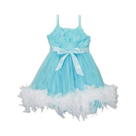 Girls Blue White Frozen Feather Rosette Flower Girl Dress 12M-10 - Frozen Dress For Little Girls