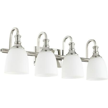 - Bathroom Vanity 4 Light With Polished Nickel Finish Medium Base Bulbs 28 inch 400 Watts