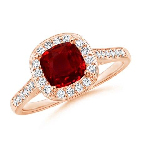 July Birthstone Ring - Classic Cushion Ruby Ring with Diamond Halo in 14K Rose Gold (6mm Ruby) - SR0152RD-RG-AAAA-6-4