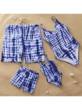 PatPat Blue One-Piece Family Matching Swimsuit Girl Boy Women Men Swimwear