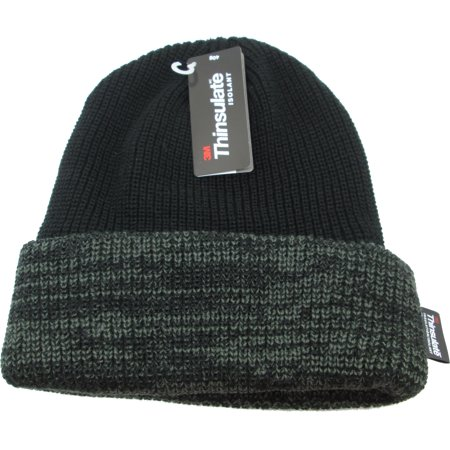 2ab962dea16 Cultural Exchange - Chunky Mixed Knit Thinsulate Insulated Cuff Mens Beanie  Cap  Black Olive Green  - Walmart.com