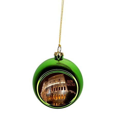 Roman Christmas Ornaments.The Roman Colosseum In Rome Italy On Christmas Eve Buon Natale Bauble Christmas Ornaments Green Bauble Tree Xmas Balls