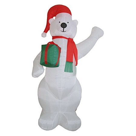 Santa's Boutique Christmas Self Inflating Illuminated Blow-Up Yard Decorations (Polar Bear with Present 8 Ft Tall) ()