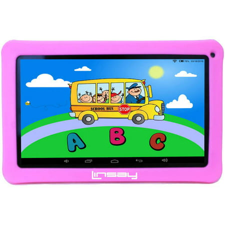 "LINSAY 10.1"" Kids Funny Tablet 16 GB Bundle with Pink Defender Case Android 9.0 Pie 2 GB ram"