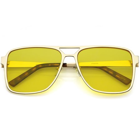 Oversize Flat Top Aviator Sunglasses Color Tinted Square Flat Lens 58mm (Gold / (Blue Tinted Aviators)