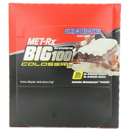 MET-Rx Big 100 Colossal Meal Replacement Bar, Super Cookie Crunch, 12 Bars, 3.52 Ounces cookies_&_cream 100 Grams