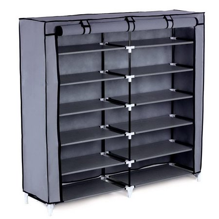 Ktaxon 6 Tiers Portable Shoe Rack Closet Fabric Cover Shoe Storage Organizer Cabinet Gray Closet Organizer Shoe Rack