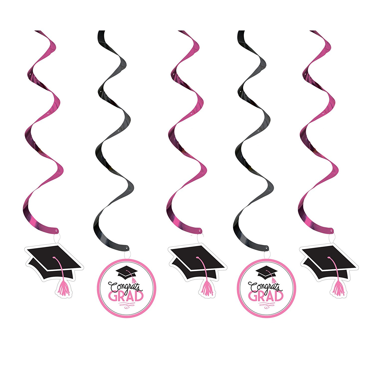 5 Count Dizzy Dangler Hanging Party Decoration Streamer with Glamorous Grad Collection, Black/White/Pink, 5 decorative coiled streamers with die-cut paper mortarboard or.., By Creative Converting