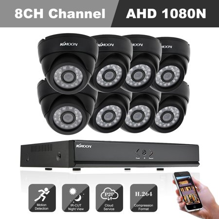KKmoon 8CH H.264 1080N DVR +8*Indoor Infrared Dome Camera + 8*60ft Cable support P2P Cloud Onvif IR-CUT Filter Infrared Night Vision Android/iOS APP PC CMS Browser View Motion Detection