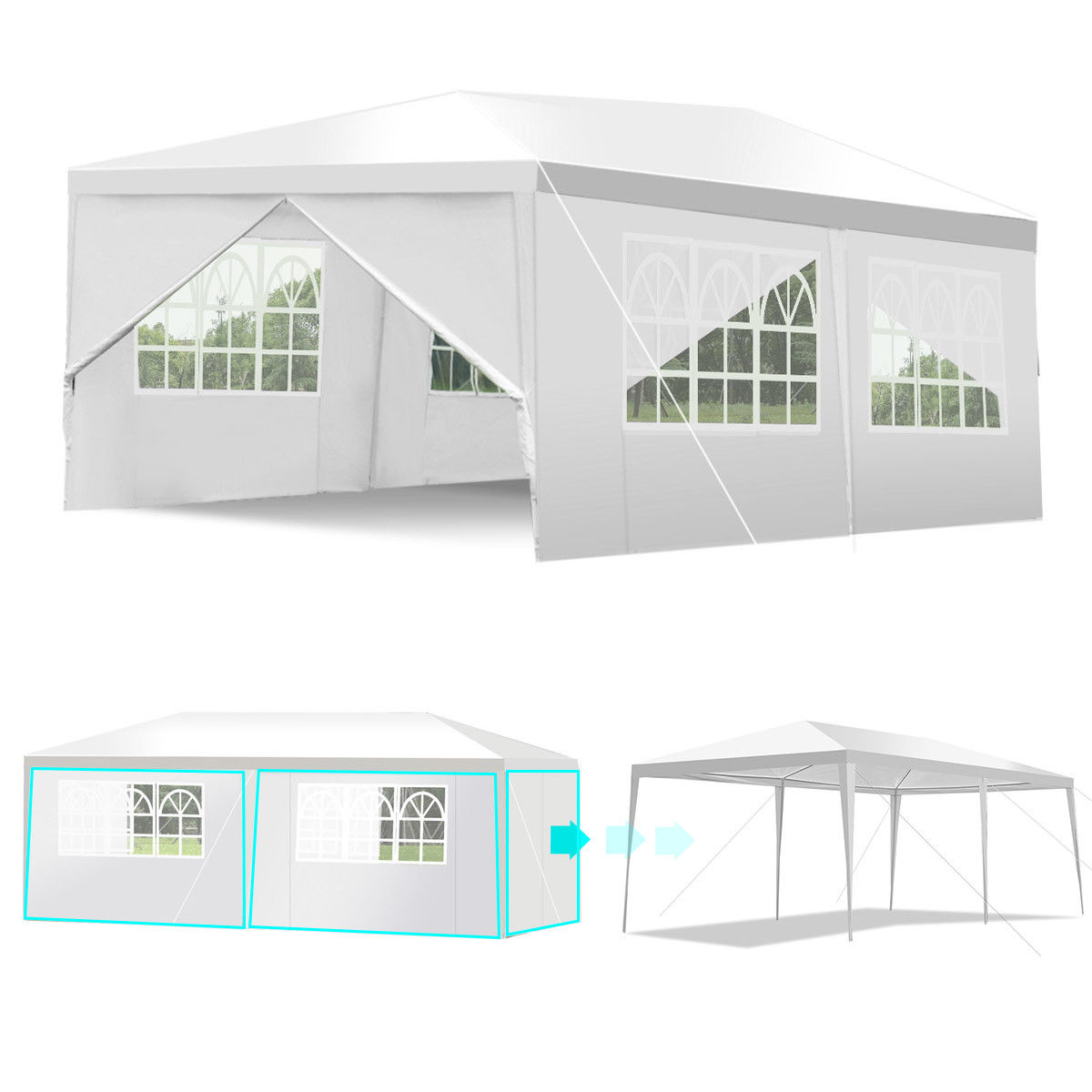 Wedding Tent Canopy Party 10'x20' Heavy Duty Gazebo Cater Event W/ Side Walls - image 5 of 10