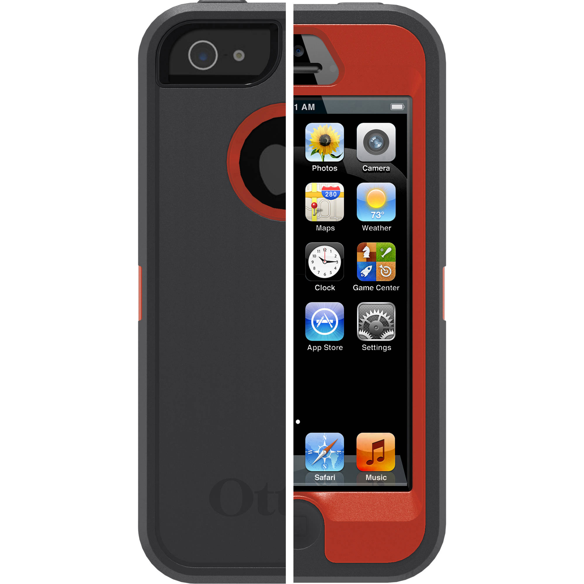 OtterBox Defender Case for iPhone 5 Bolt Gray/Red* Cover OEM Original
