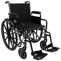 "Karman Lt-700T-20W Lightweight Wheelchair with Removable Armrest, 20"" Seat, Silver Vein"