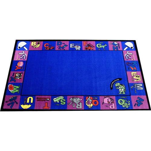 Kids World Carpets Alphabet Charlie Blue/Pink Area Rug