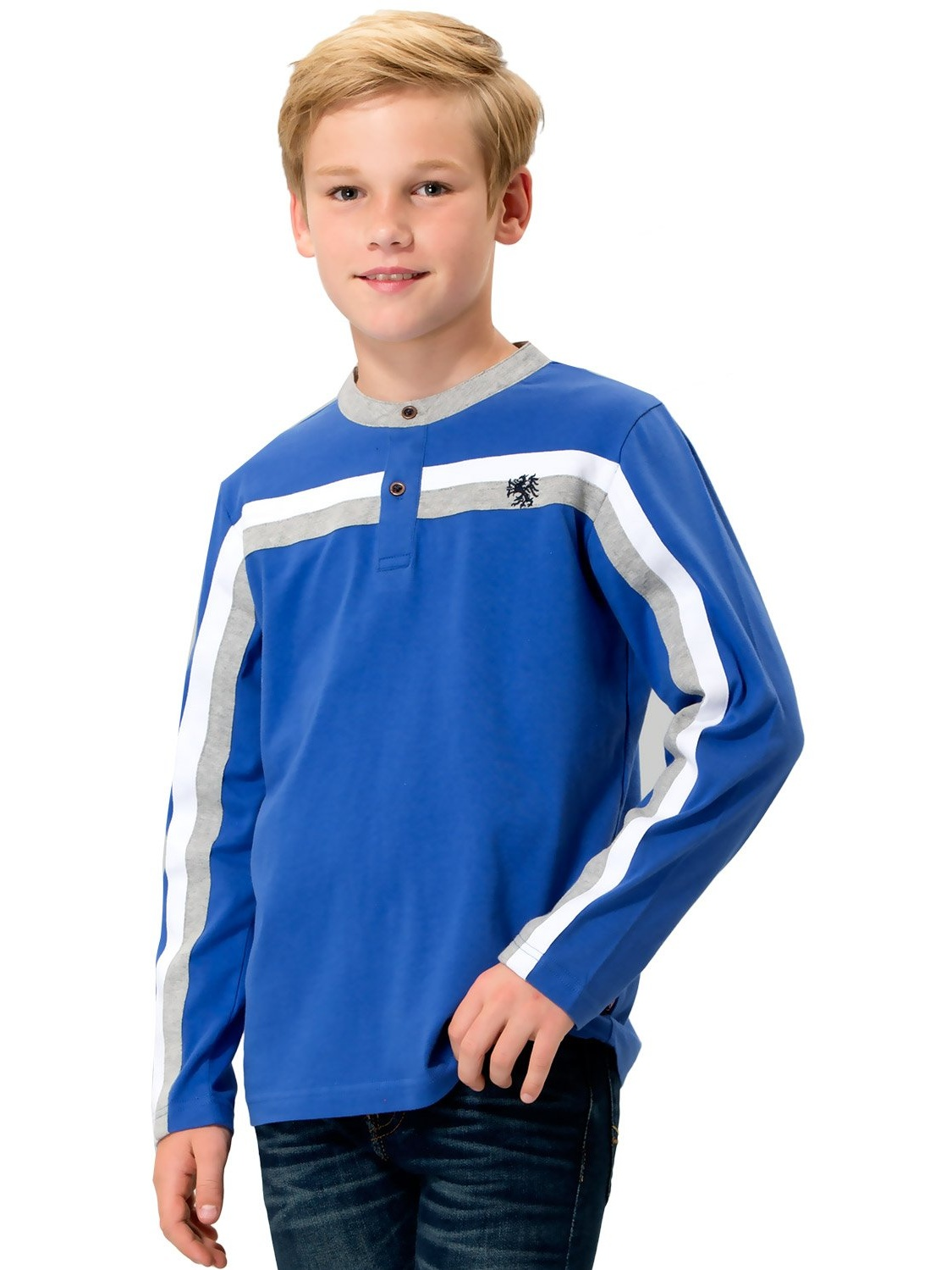 Leo&Lily Boys' Kids' Long Sleeves Sports Casual Yarn Dyed Pull On Top T Shirt