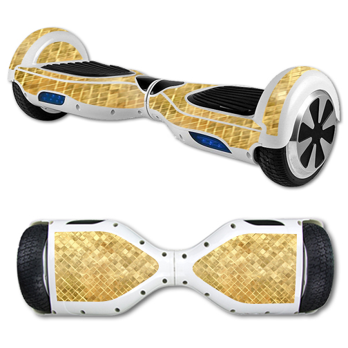 MightySkins Protective Vinyl Skin Decal for Hover Board Self Balancing Scooter mini 2 wheel x1 razor wrap cover Gold Tiles
