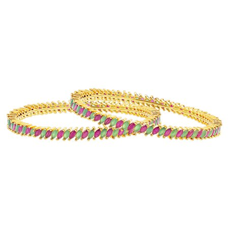 Avenue Mary Janes - Gem Avenue Gold Plated Bollywood Indian Bangle Bracelets Size 2.6 Ruby and Emerald Glass With CZ Set of 2