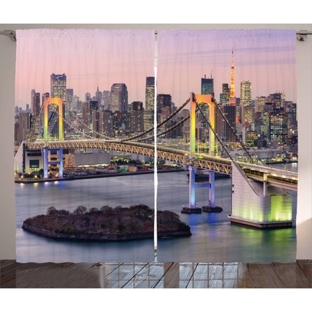 Cityscape Curtains 2 Panels Set, Tokyo Japanese Capital City Rainbow Bridge Skyscrapers Ultra-Modern Town Scene, Window Drapes for Living Room Bedroom, 108W X 90L Inches, Multicolor, by Ambesonne - City Scene