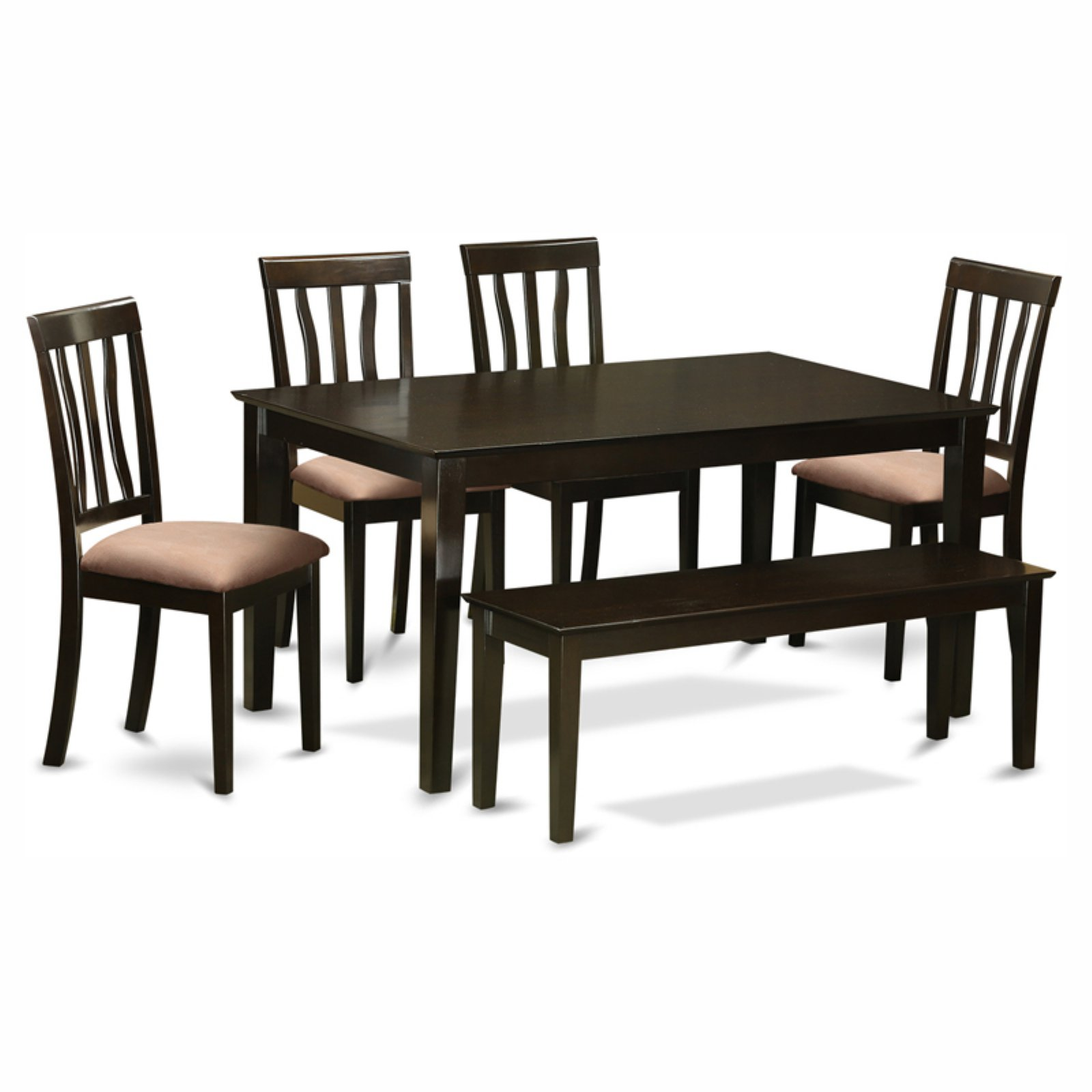 East West Furniture Capris 6 Piece Rectangular Dining Table Set with Antique Microfiber Seat Chairs