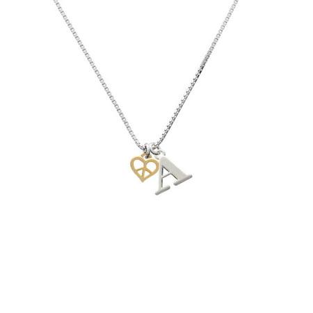 Goldtone Mini Heart Peace Sign - A - Initial Necklace Peace Heart Necklace