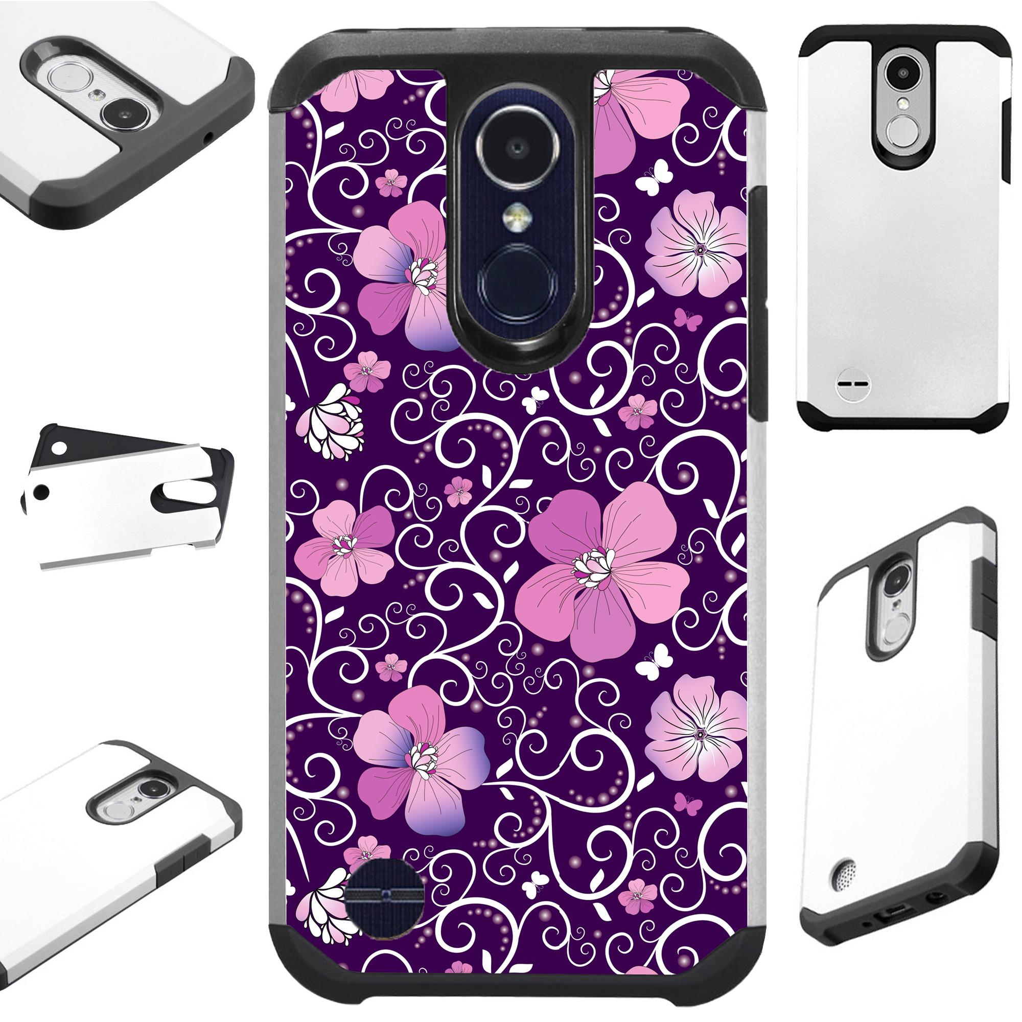 For LG Rebel 4 | LG Rebel 3 Case Hybrid TPU Fusion Phone Cover (Purple Flowe Vine)