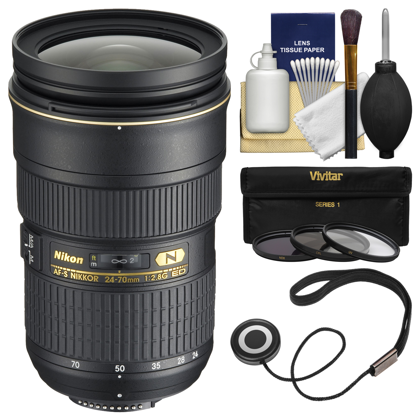 Nikon 24-70mm f/2.8G AF-S ED Zoom-Nikkor Lens - Factory Refurbished with 3 (UV/ND8/CPL) Filters + Accessory Kit