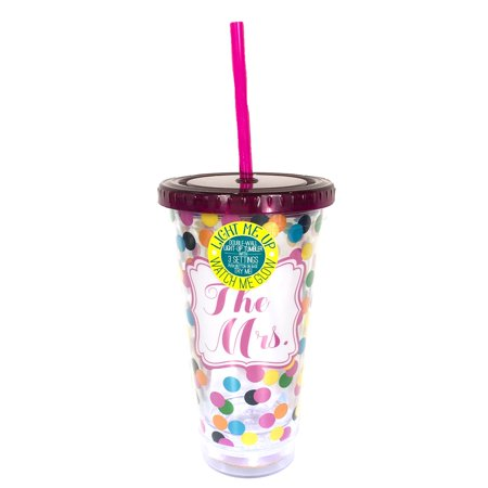 The Mrs. Light Up 17oz. Double Wall Travel Tumbler w Straw, Pink Confetti