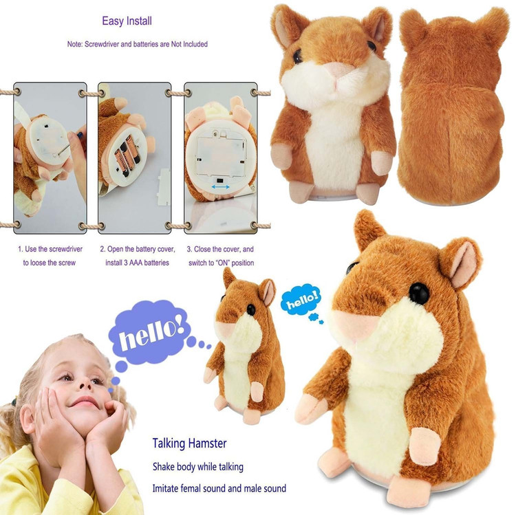 Talking Hamster Toy Electronic Repeats Pet Talking Plush Toy Buddy Mouse Best Christmas Xmas Gift 3.9 x 6.3 inches