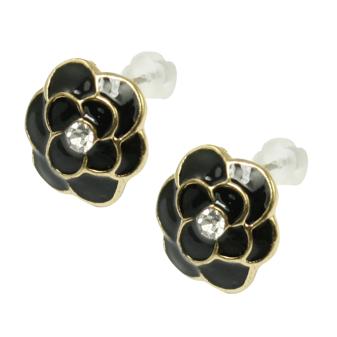 2 Pcs Gold Tone Trimmed Black Flower Accent Stud Earrings for Lady