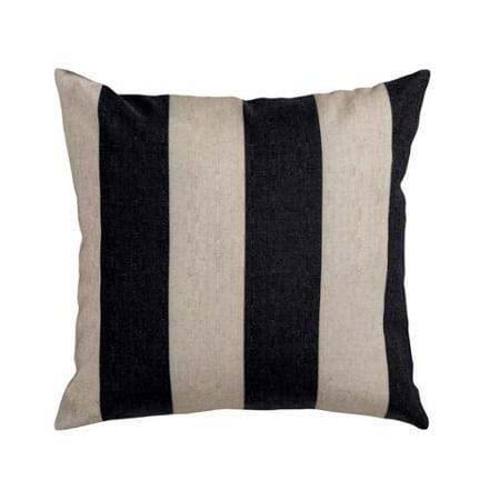 18 Smokey Black And Coconut White Decorative Striped