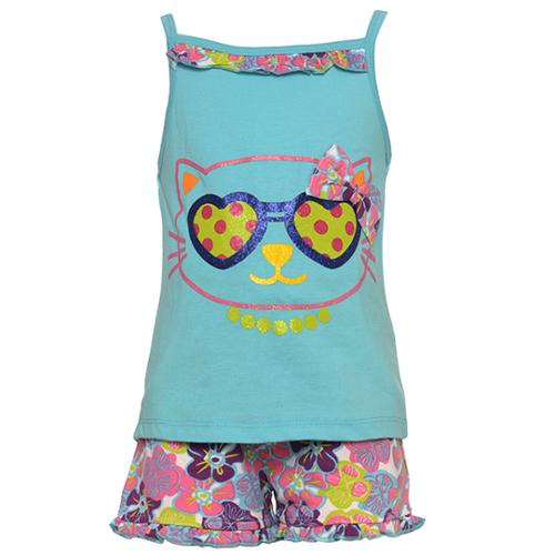 Buster Brown Little Girls Turquoise Cat Face Floral Print 2 Pc Shorts Set 4
