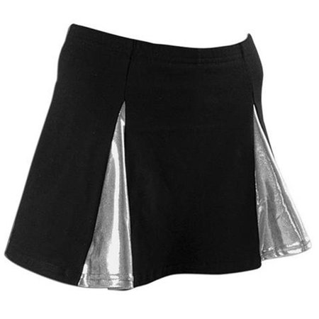 Pizzazz 4100M -BLKSIL-YM 4100M Youth Metallic Skirt with Brief, Black with Silver - Medium - image 1 of 1