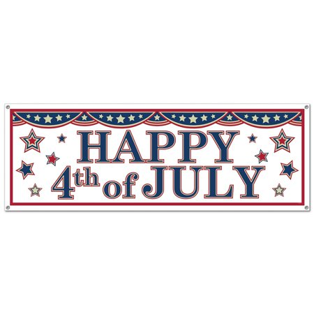 Club pack of 12 Red, White and Blue 4th of July Patriotic Sign Banner - Fourth Of July Signs