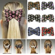 Heepo Women's Chic Stretch Rose Flower Bow Beaded Hair Comb Cuff Double Insert Clips