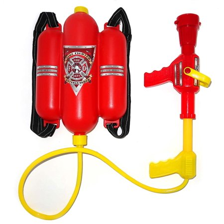 Water Gun With Backpack (Firefighter Backpack Double Tank - Fireman Backpack Water Gun Blaster -Large Super Water Squirt Suitable for Beach, Lake, Swimming Pool, Outdoor Activities for Kids, By 4E's)