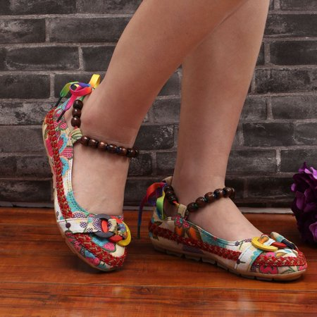 Beaded Lace Manual Beijing Shoes Asakuchi Breathable Shoes Women Single Shoes - image 7 de 10