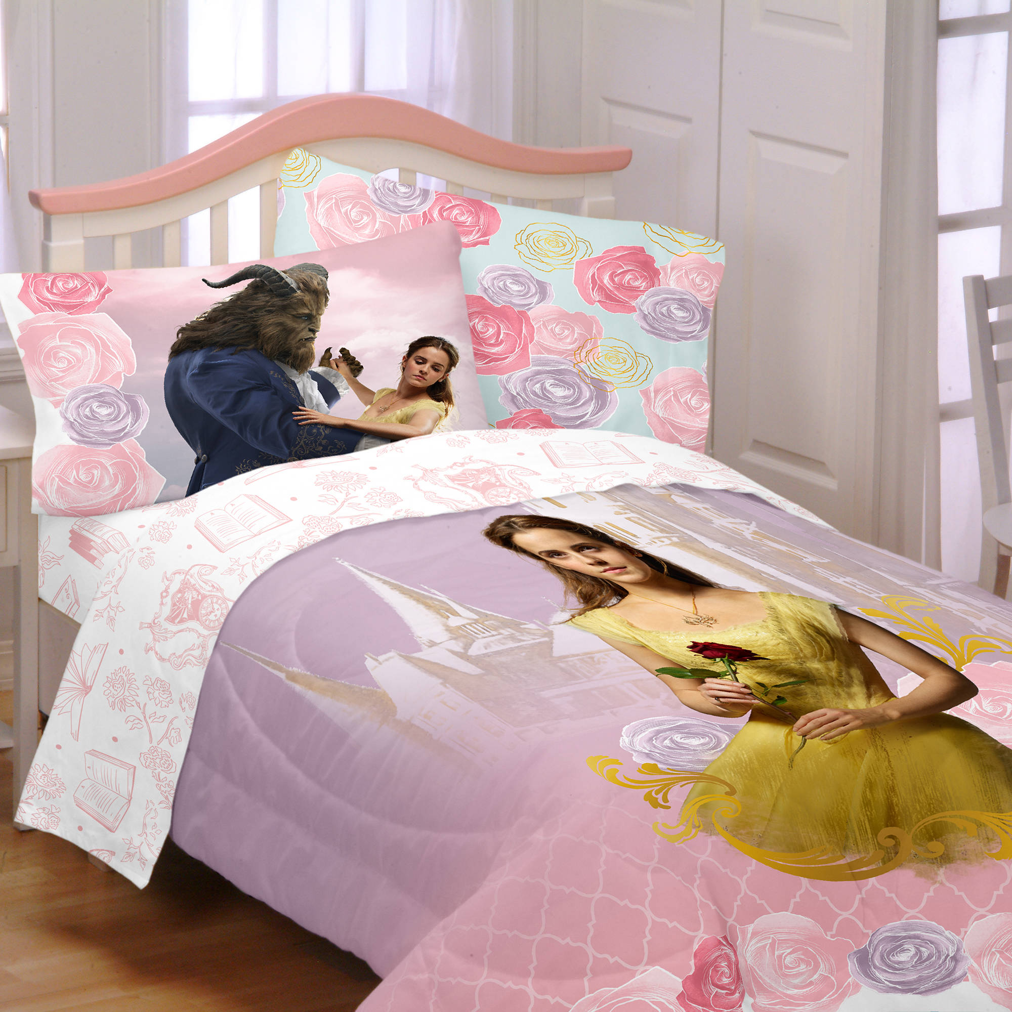 "Disney's Beauty and the Beast ""Enchanted Romance"" Kids' Bedding Comforter, Twin, Exclusive"