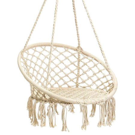 WALFRONT Hammock Chair Outdoor Hanging Swing Handmade Knitted Macrame Hanging Swing Chair for Indoor, Home, Bedroom, Yard, Garden (300 Pound Capacity-Beige) ()