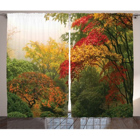 Country Home Decor Curtains 2 Panels Set Maple Trees In The Fall At Portland Anese