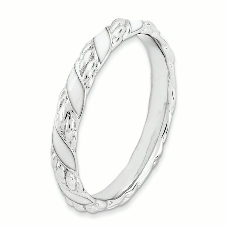 Sterling Silver Stackable Expressions Polished White Enameled Ring Size 5 - image 1 de 3