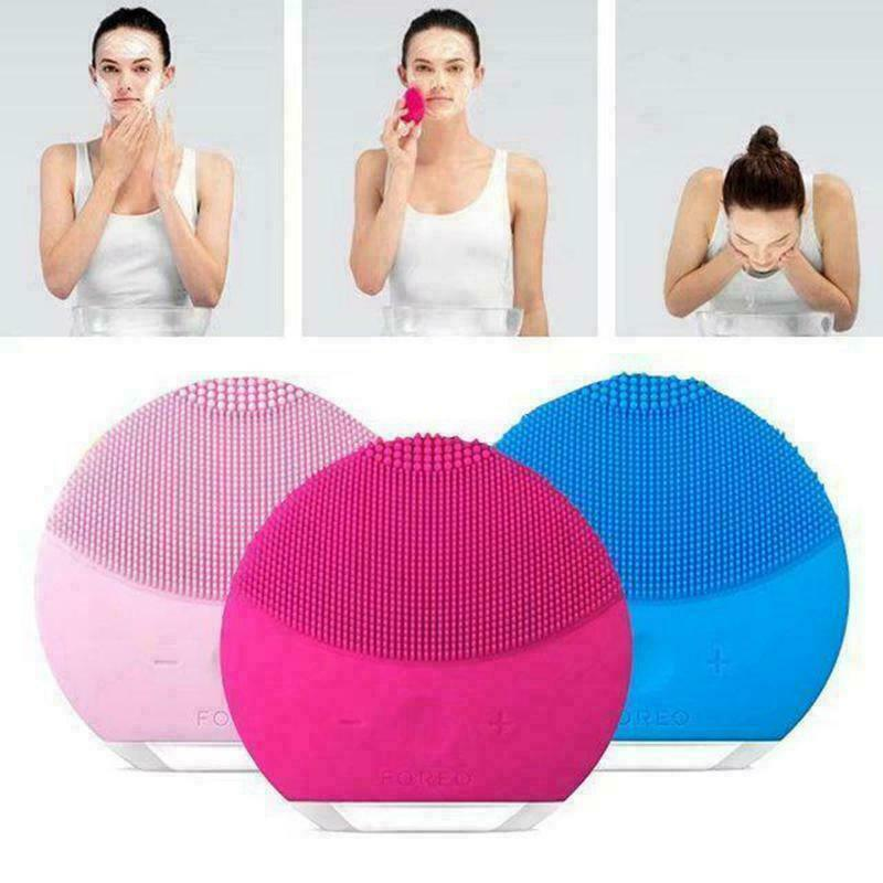 Luna Mini 2 Foreo Face Skin Care Wash Cleansing Brush Device Beauty Facial Iris(Rose Red)