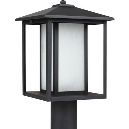 - Sea Gull Lighting Hunnington - One Light Outdoor Post Lantern, Black Finish with Etched Seeded Glass