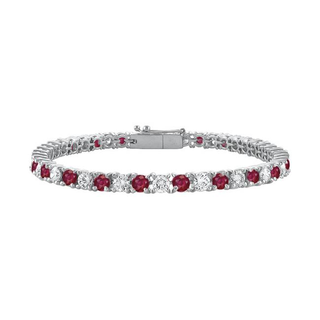 Fine Jewelry Vault UBUBRAGRD131500CZR Sterling Silver Round Created Ruby and Cubic Zirconia Tennis Bracelet 5 CT TGW by Fine Jewelry Vault