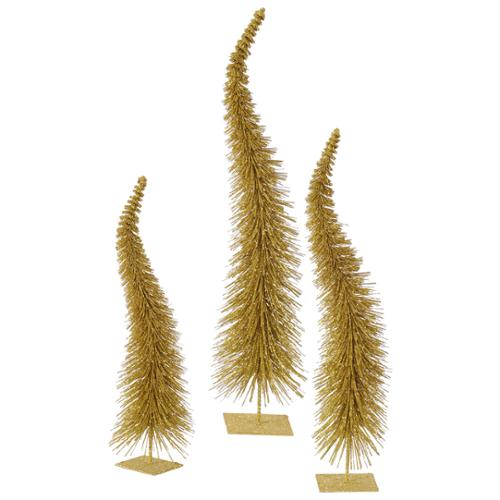 Set of 3 Gold Glitter Curved Artificial Table Top Christmas Trees - Unlit