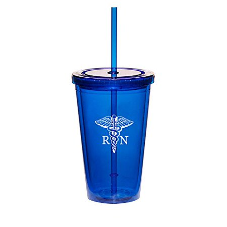 16oz Double Wall Acrylic Tumbler Cup With Straw RN Registered Nurse (Blue)