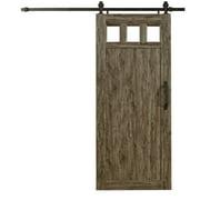 "Millbrooke 36""w x 84""h PVC Window Barn Door Kit Weathered Grey"