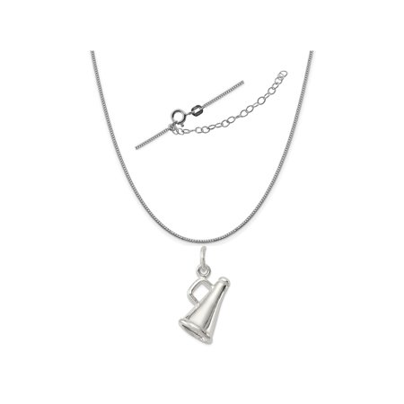 Sterling Silver Megaphone Charm on a 0.90mm Box Chain Necklace, 18