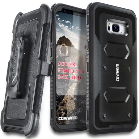 Samsung Galaxy S8 Plus Case, [Aegis Series] + Full-Coverage Screen Protector, Heavy Duty Rugged Full-Body Armor Holster Case [Belt Swivel Clip][Kickstand] For Samsung Galaxy S8 +, Black
